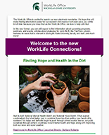 Screenshot of the new email newsletter format of WorkLife Connections