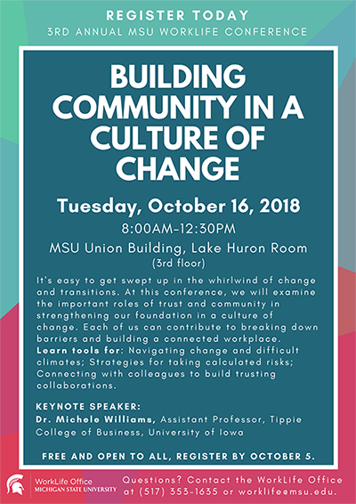 2018 Building Community in a Culture of Change flyer