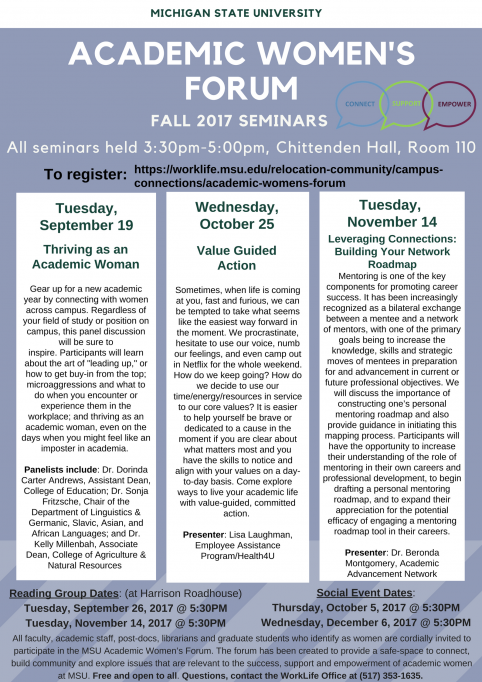 Image of the Academic Women's Forum Fall seminar flyer
