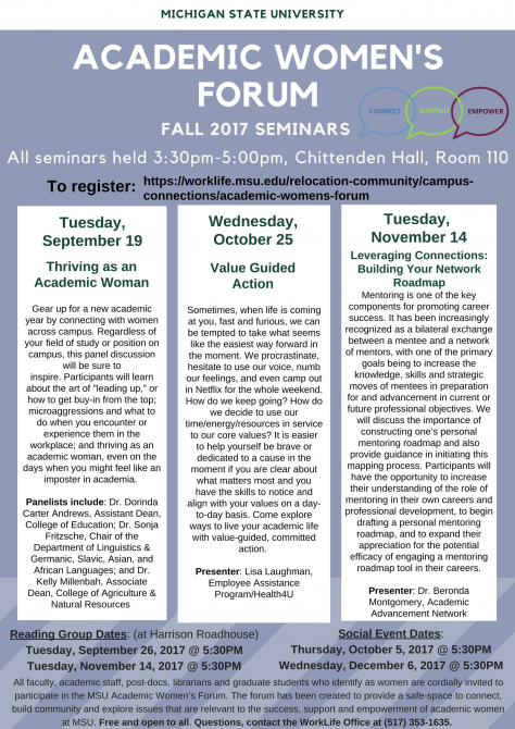 Image of Academic Women's Forum fall seminar flyer