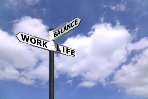 Image of road signs at intersection of work-life and balance