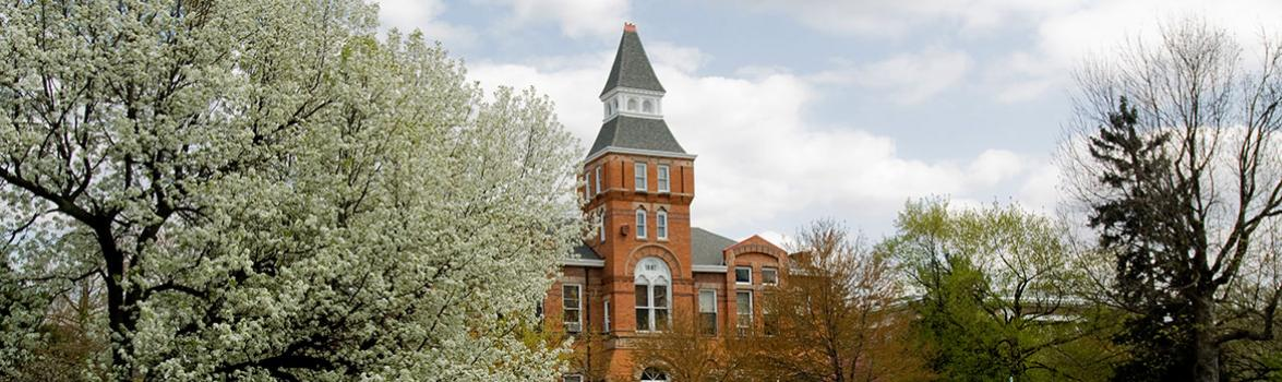 Photo of Linton Hall (west side) surrounded by trees in bloom.